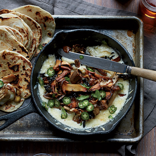 Bacony Tortillas with Melted Cheese and Crispy Mushrooms