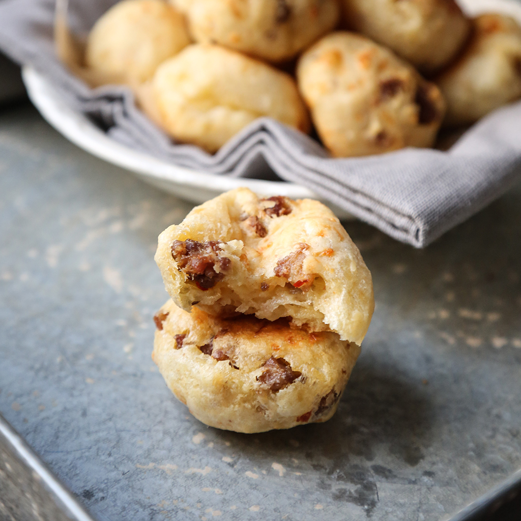 Sausage-Stuffed Brazilian Cheese Bread (Pao de Queijo)