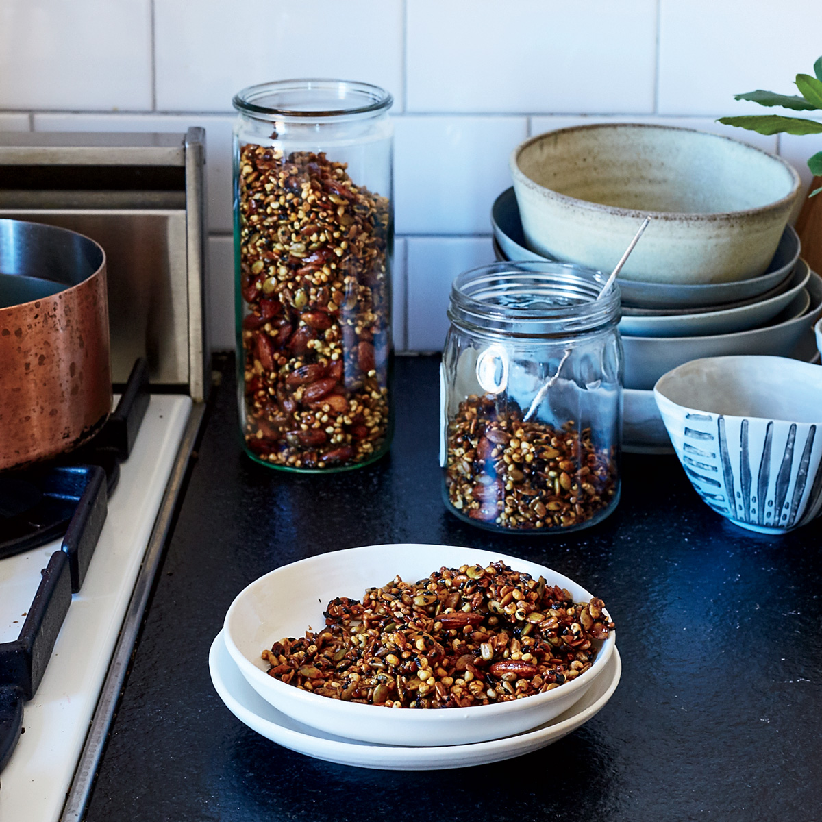 Sweet and Spicy Black Sesame Seed and Nut Mix
