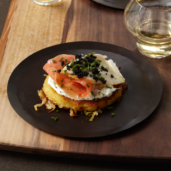 Crispy Potato Galette with Dill Cream, Smoked Salmon and Sturgeon and Osetra Caviar