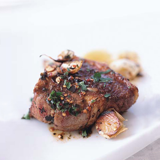 Lamb Chops Sizzled with Garlic