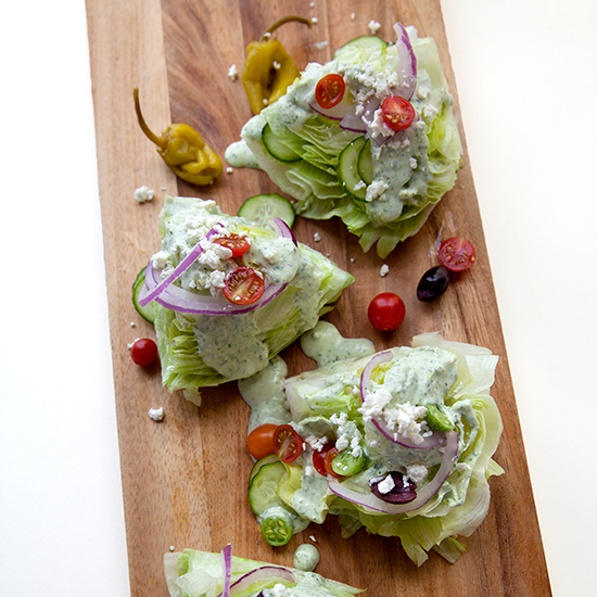 Greek Wedge Salad with Creamy Feta Dressing