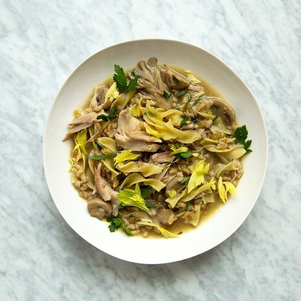 Chicken-Barley Soup with Herbs and Egg Noodles