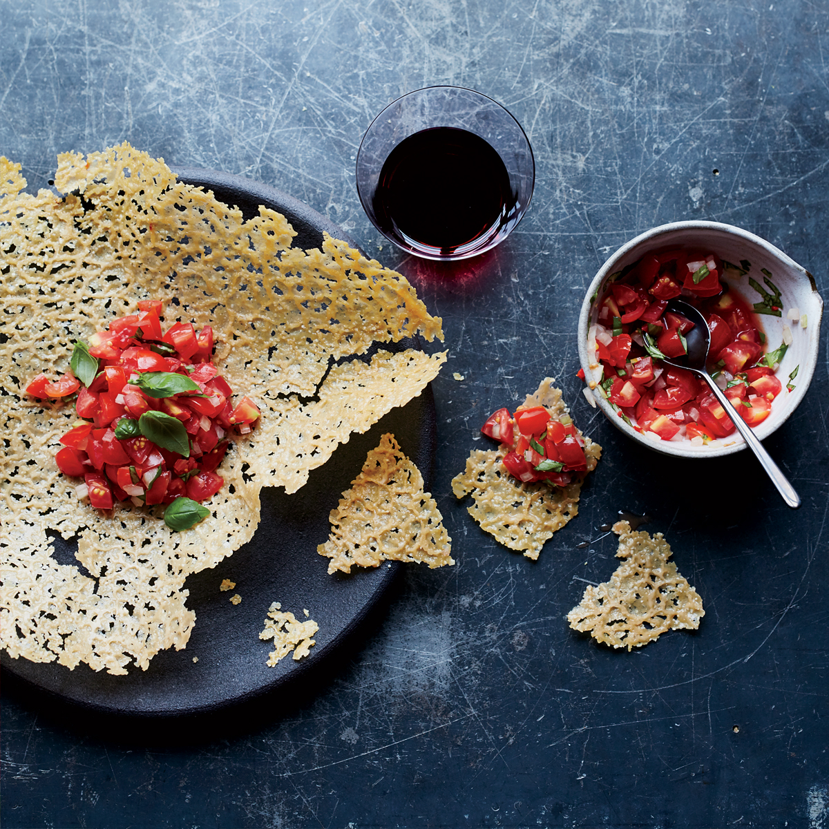 Giant Frico with Spicy Tomato-Basil Salsa