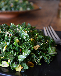 Gluten-Free Kale Salad with Miso and Pistachios