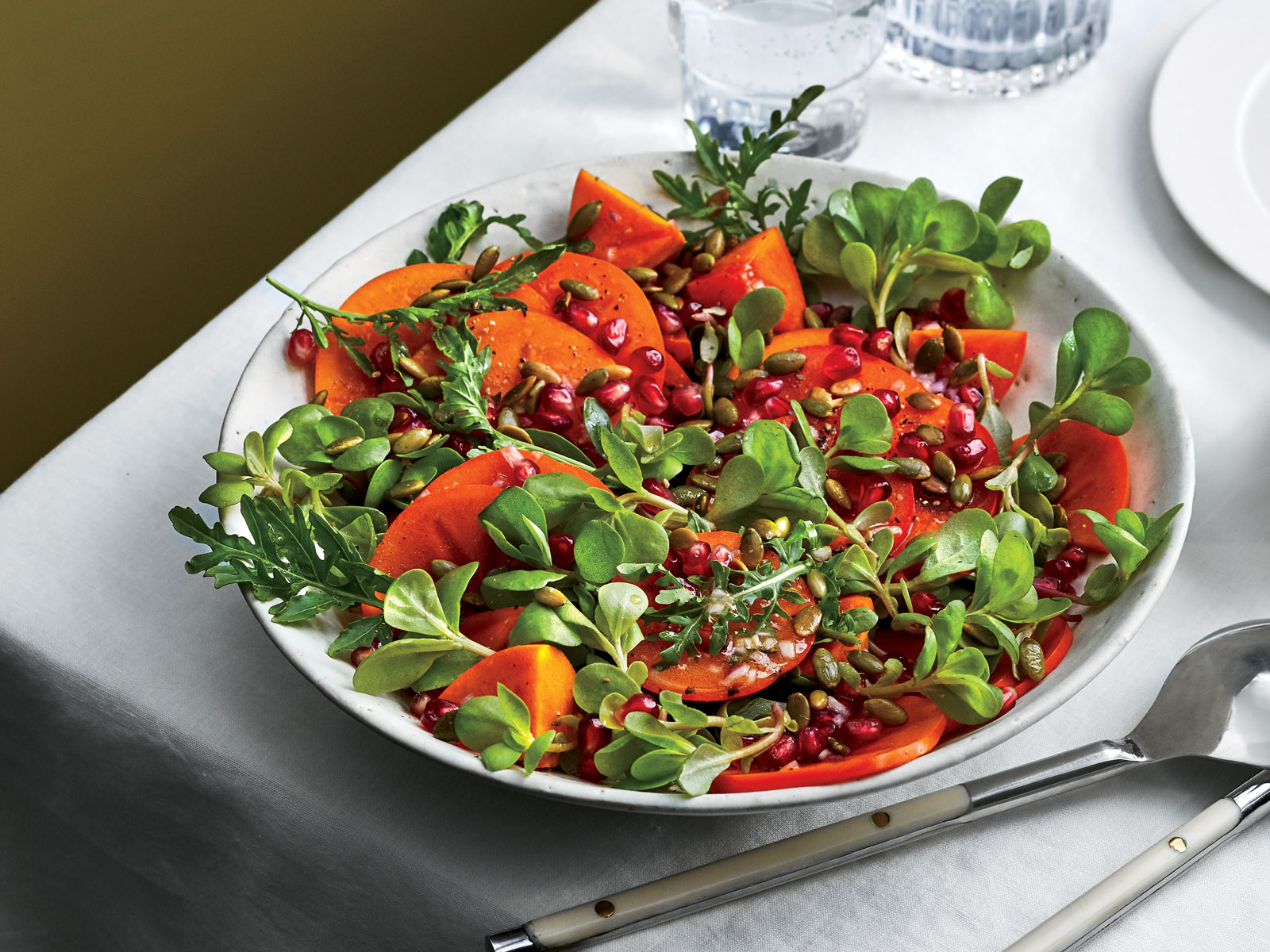 Persimmons, Pomegranate, and Purslane with Pepitas