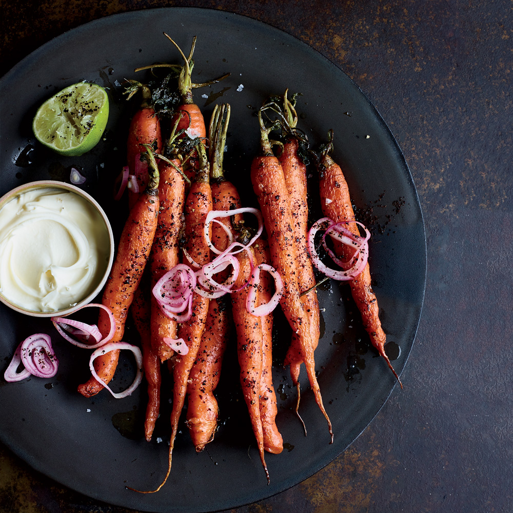 Roasted Carrots with Lebneh, Urfa, Pickled Shallots and Lime