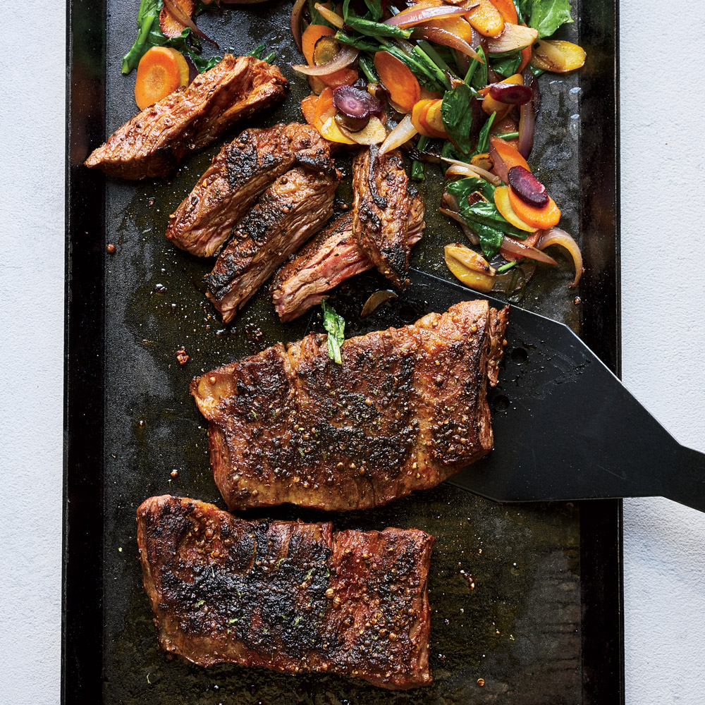 Skirt Steak Sizzle with Carrots and Arugula