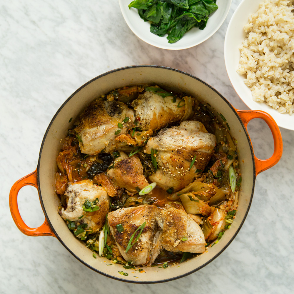 Easy Braised Chicken with Kimchi