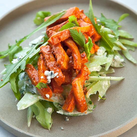 Buffalo Butternut Squash Matchsticks with a Blue Cheese-Celery Salad