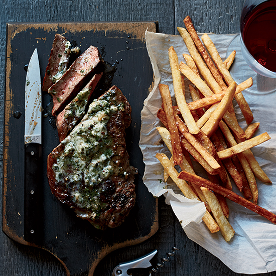 Strip Steak Frites with Bearnaise Butter