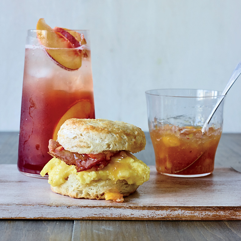 Biscuit Breakfast Sandwiches with Peach Ginger Jam