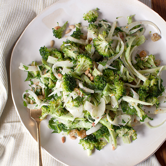 Creamy Broccoli-Fennel Slaw with Pine Nuts