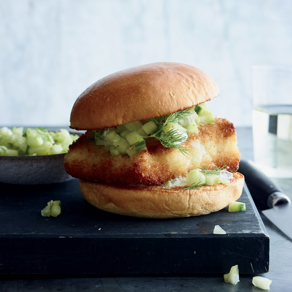 Crispy Grouper Sandwiches with Green Tomato-Cucmber Relish