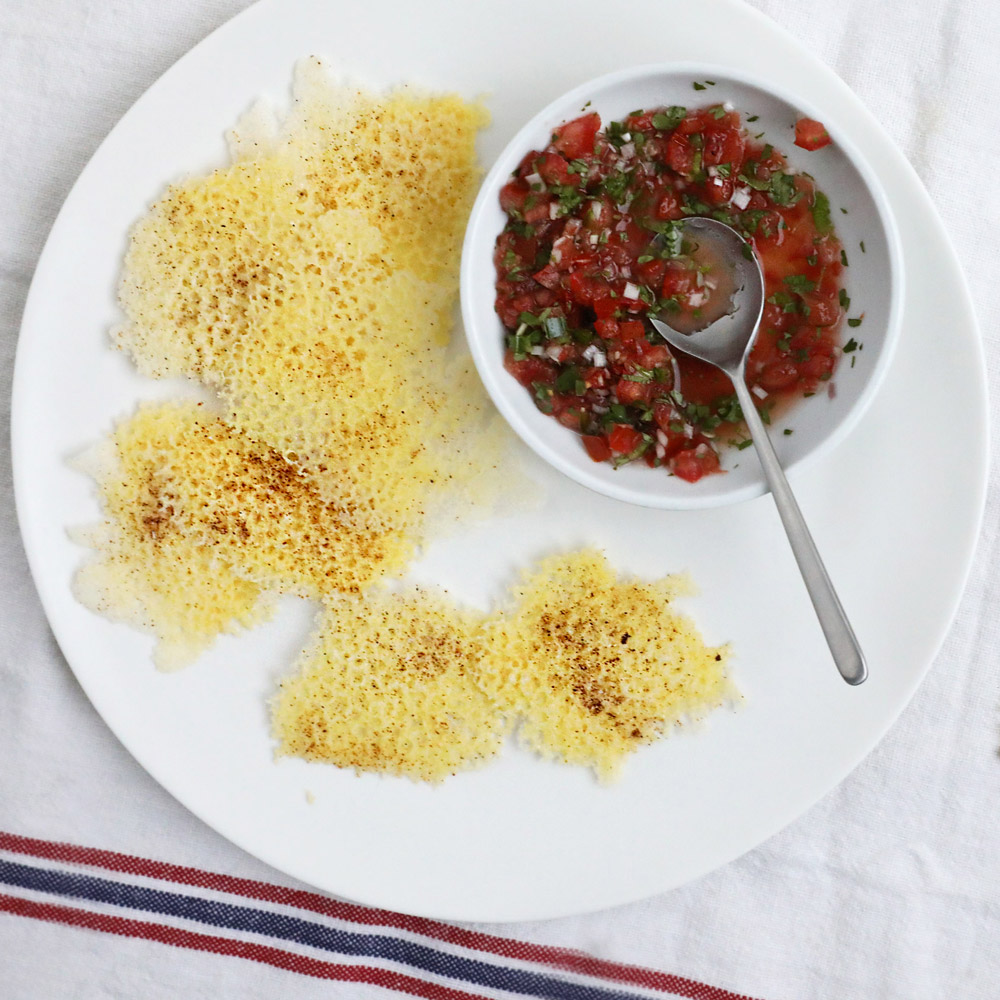 Cheddar Cheese Frico with Salsa Fresca