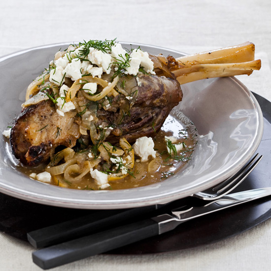 Slow Cooker Lamb Shanks with Lemon, Dill and Feta