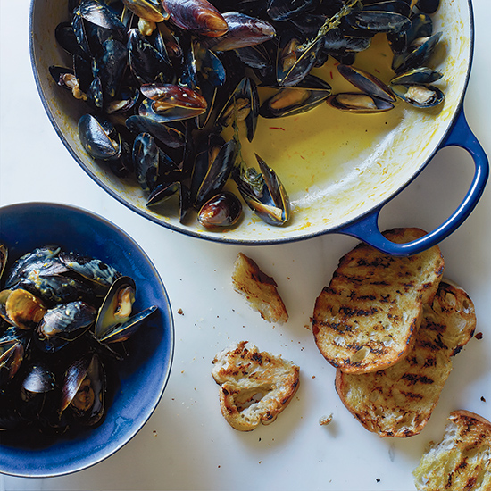 Mussels with Saffron and Citrus