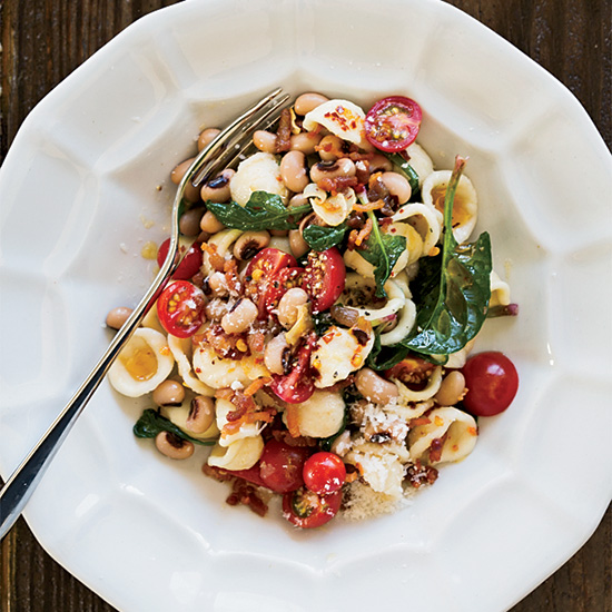 Orecchiette with Bacon, Black-Eyed Peas and Spinach