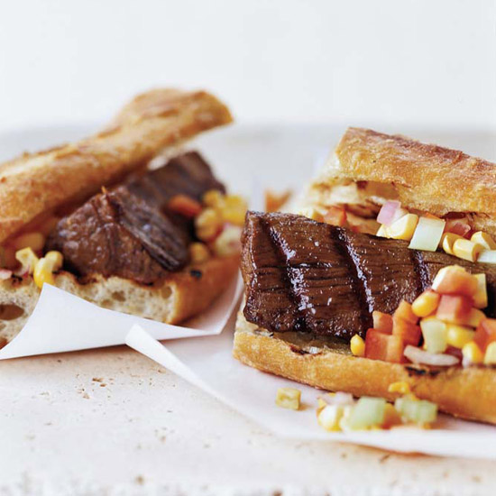 "Beef Tenderloin ""Dogs"" with Corn Relish"