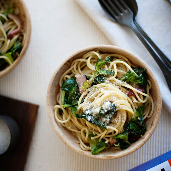 Spaghetti with Escarole and Bacon