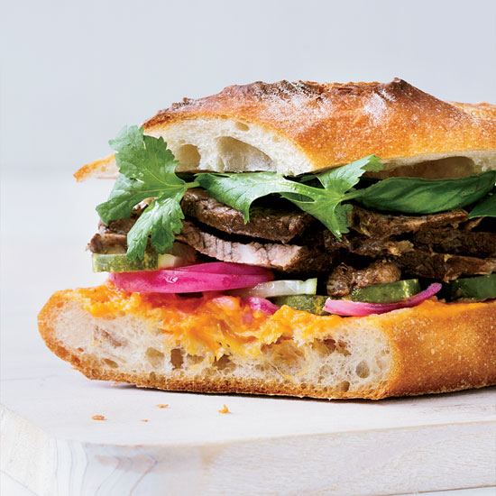 Short Rib Banh Mi with Quick Pickles and Fresh Herbs