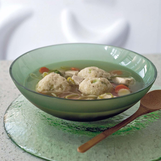 <p>Chicken Soup with Rosemary Matzo Balls</p>