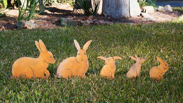 Bunny Family Garden Sculptures