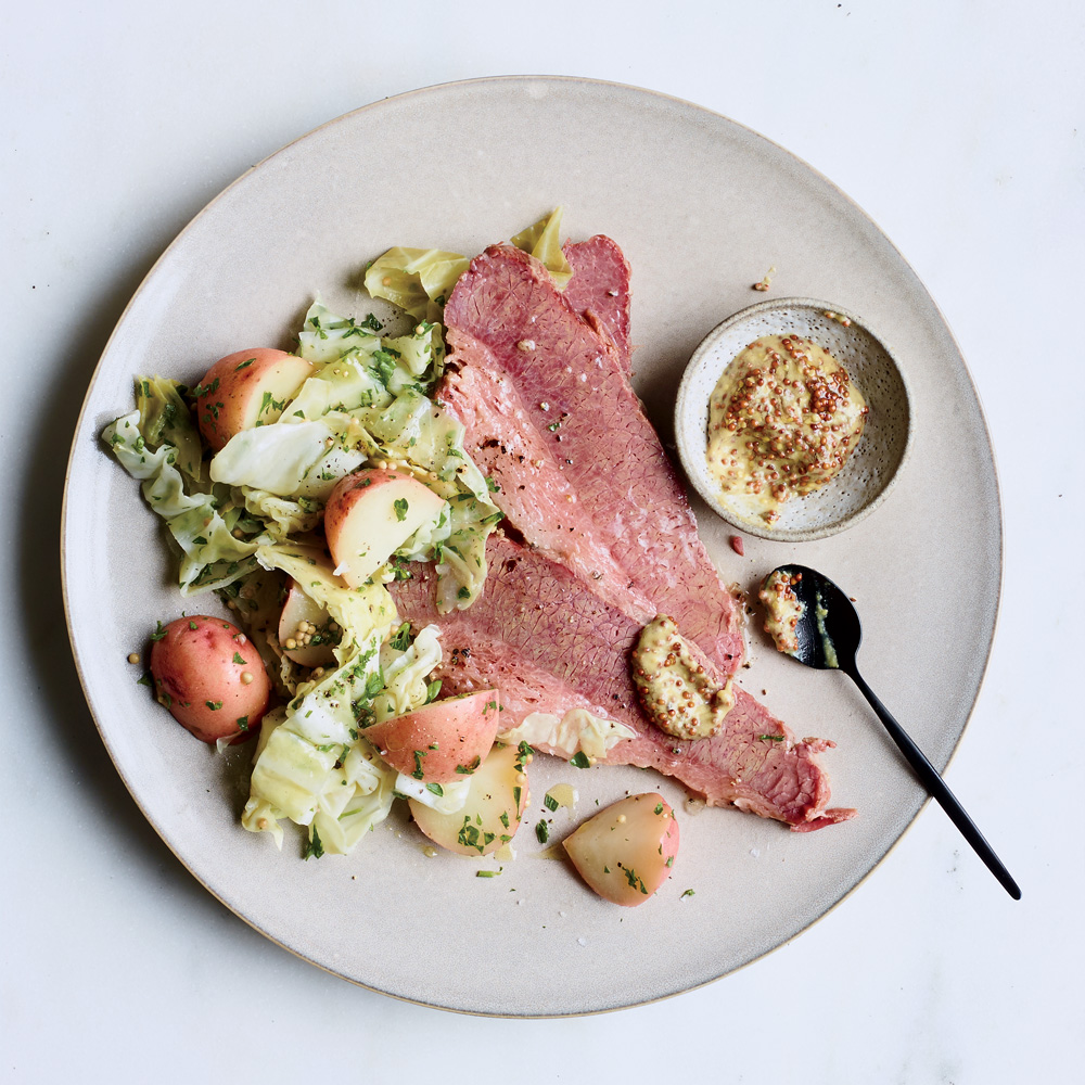 Corned Beef with Pickled Cabbage and Potato Salad