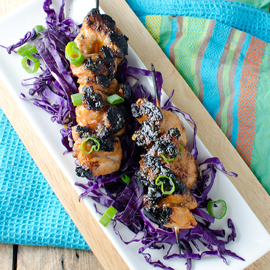 Chicken Yakitori with Purple Cabbage and Jasmine Rice