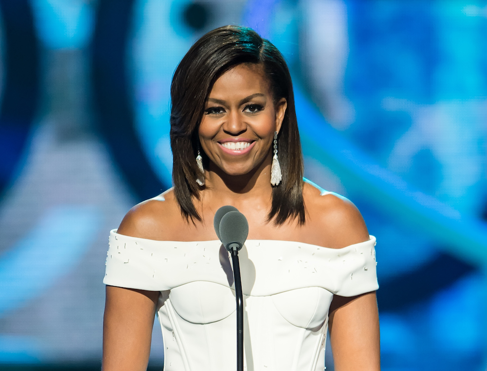 Michelle Obama speaks onstage during the 'Black Girls Rock!' BET Special at NJ Performing Arts Center on March 28, 2015 in Newark, New Jersey.  (Photo by Gilbert Carrasquillo/FilmMagic)