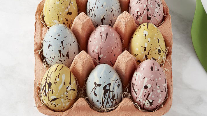 Williams Sonoma Speckled Chocolate Eggs in a Crate