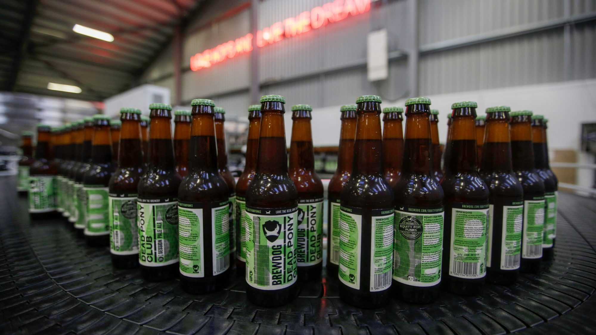 Capped bottles of Brewdog Dead Pony Pale Ale