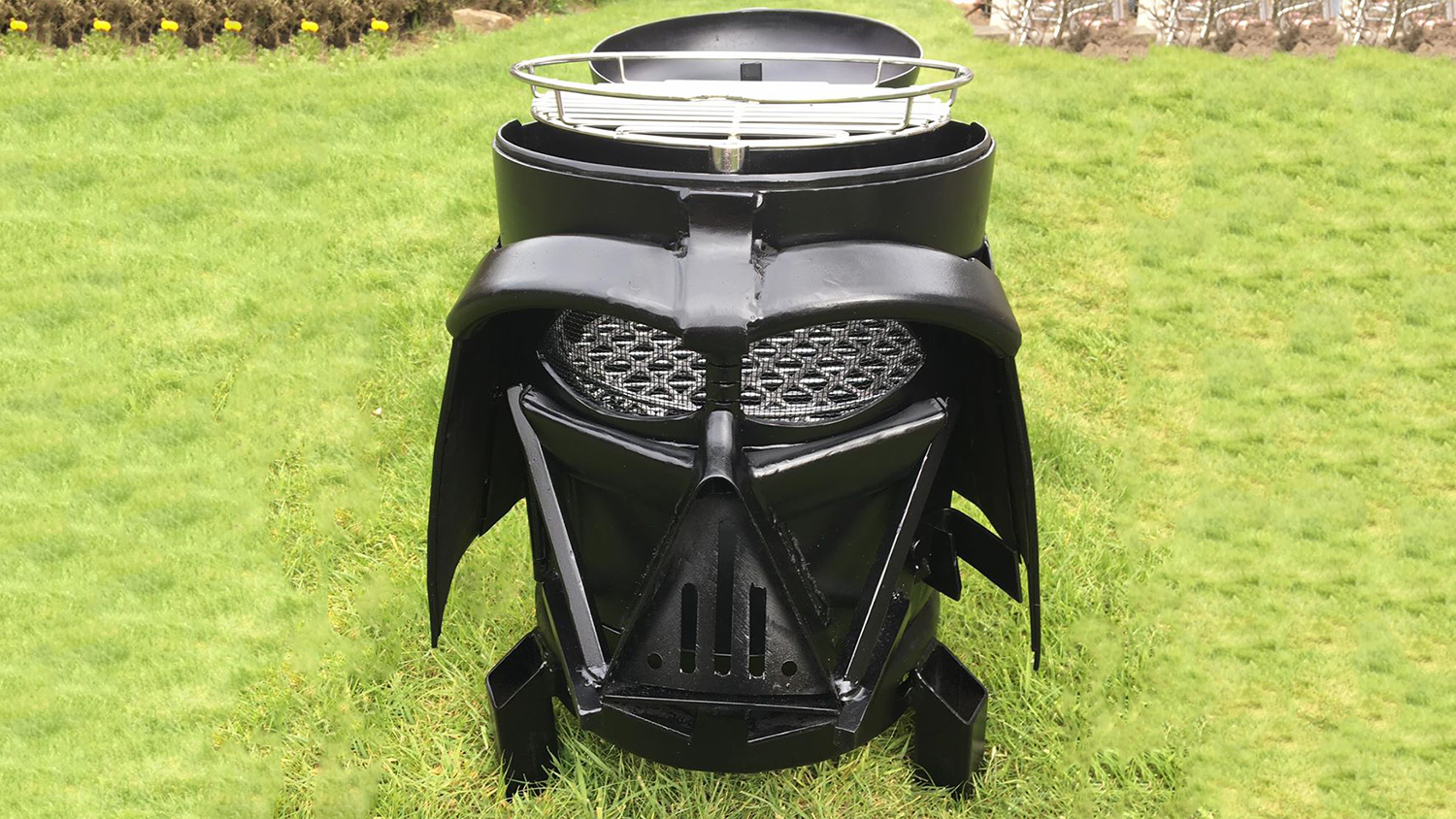 this giant darth vader helmet is actually a grill food wine. Black Bedroom Furniture Sets. Home Design Ideas