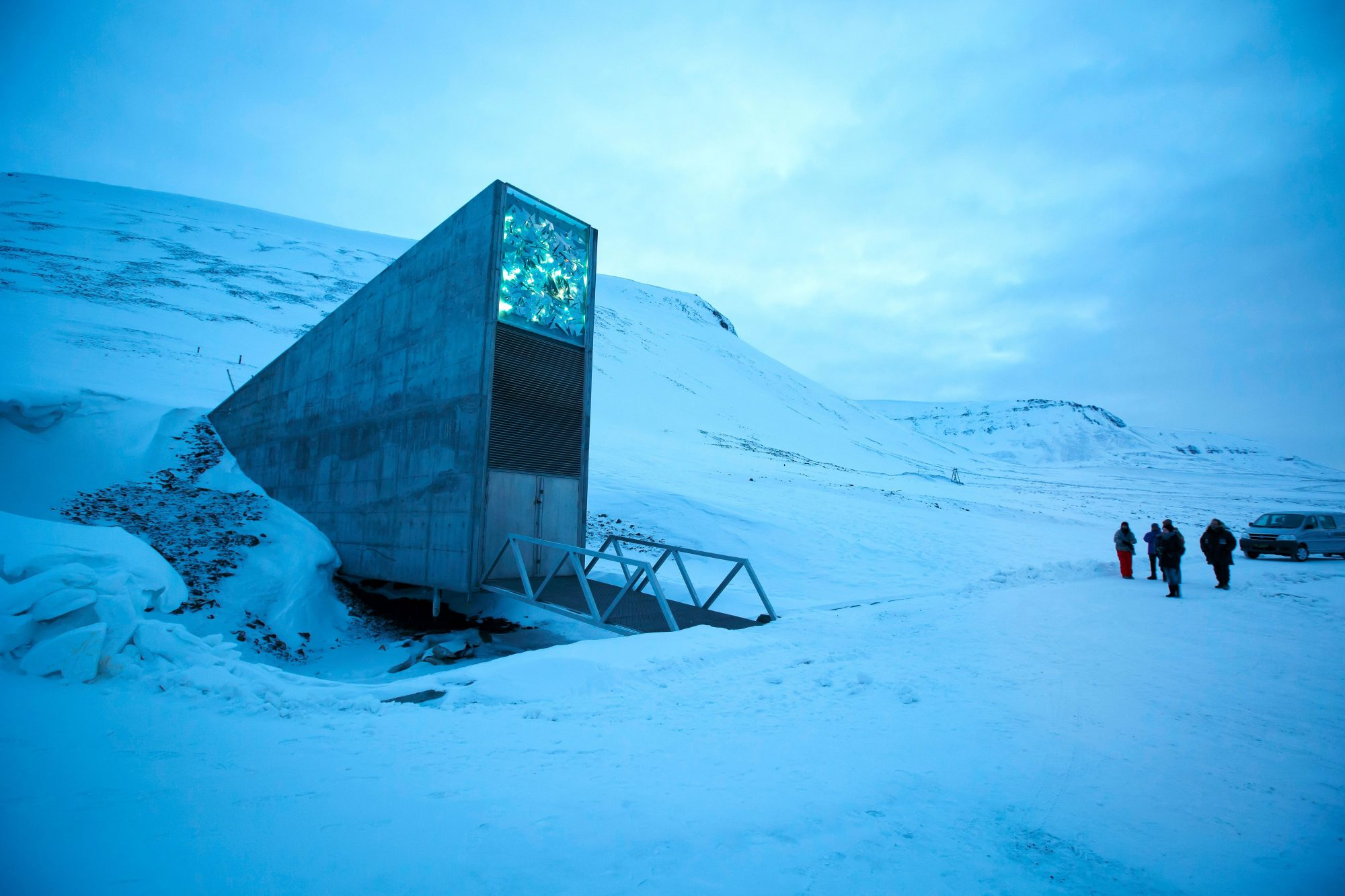 A general view of the entrance of the international gene bank Svalbard Global Seed Vault (SGSV), outside Longyearbyen on Spitsbergen, Norway, on February 29, 2016.