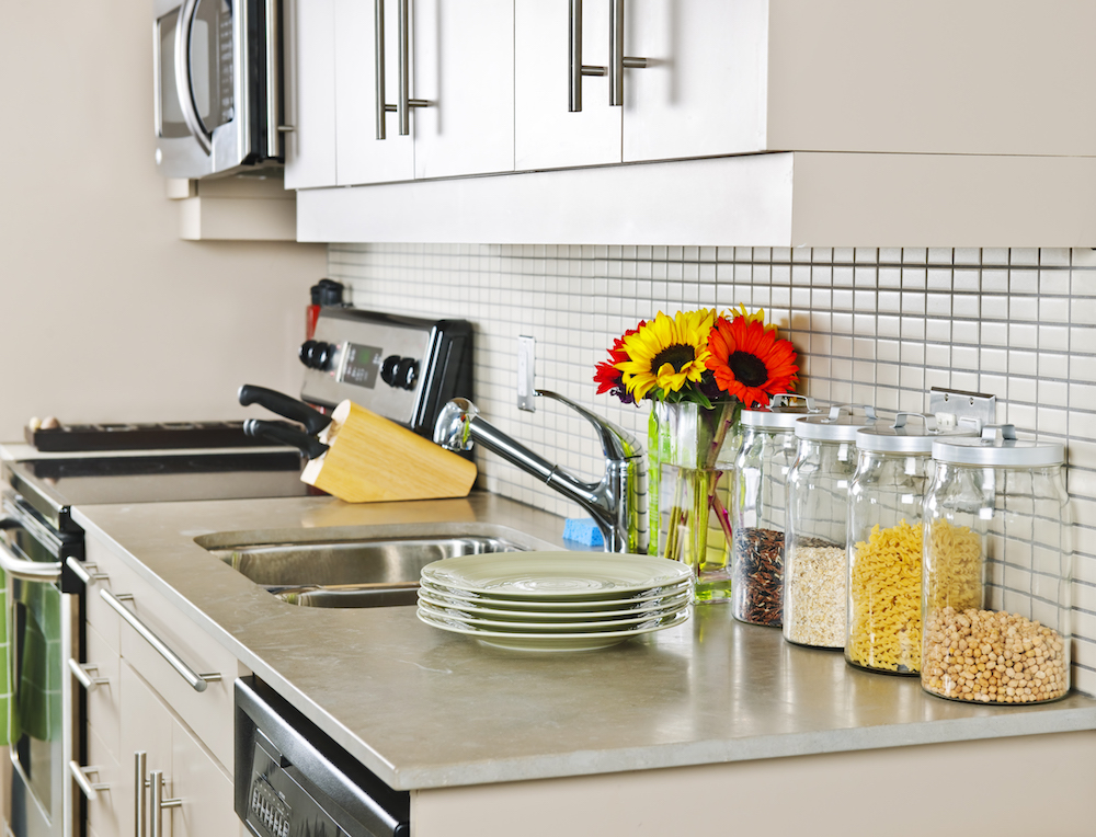 How nice would shiny new appliances look on this kitchen counter?