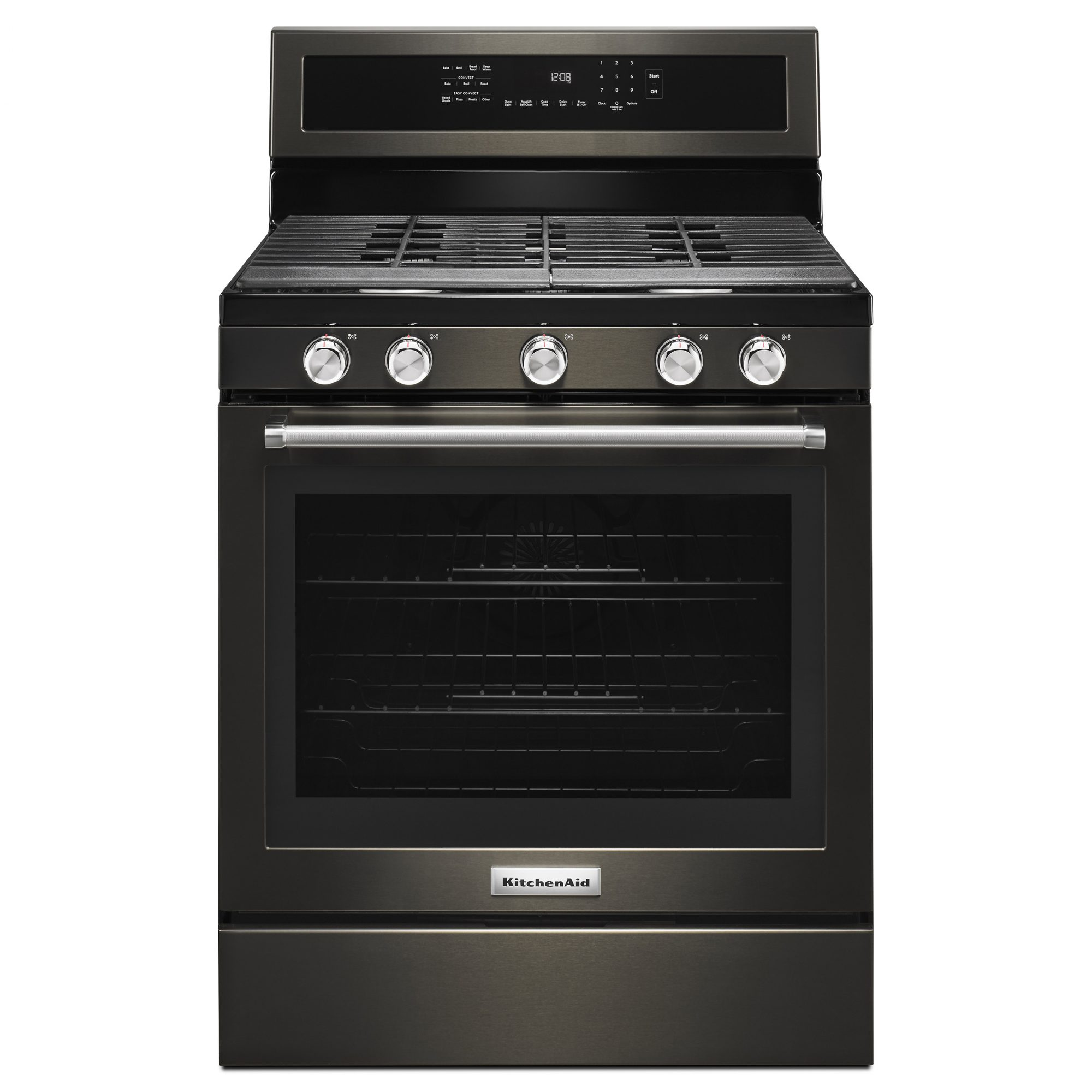 Kitchenaid's matte black convection range stove