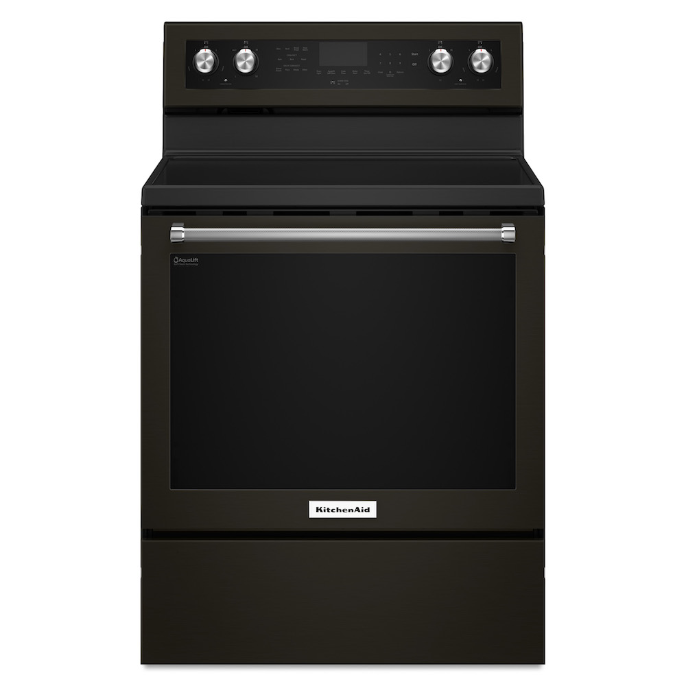 Kitchenaid's matte black electric range stove