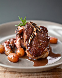 Lamb Chops with Rosemary and Grapes
