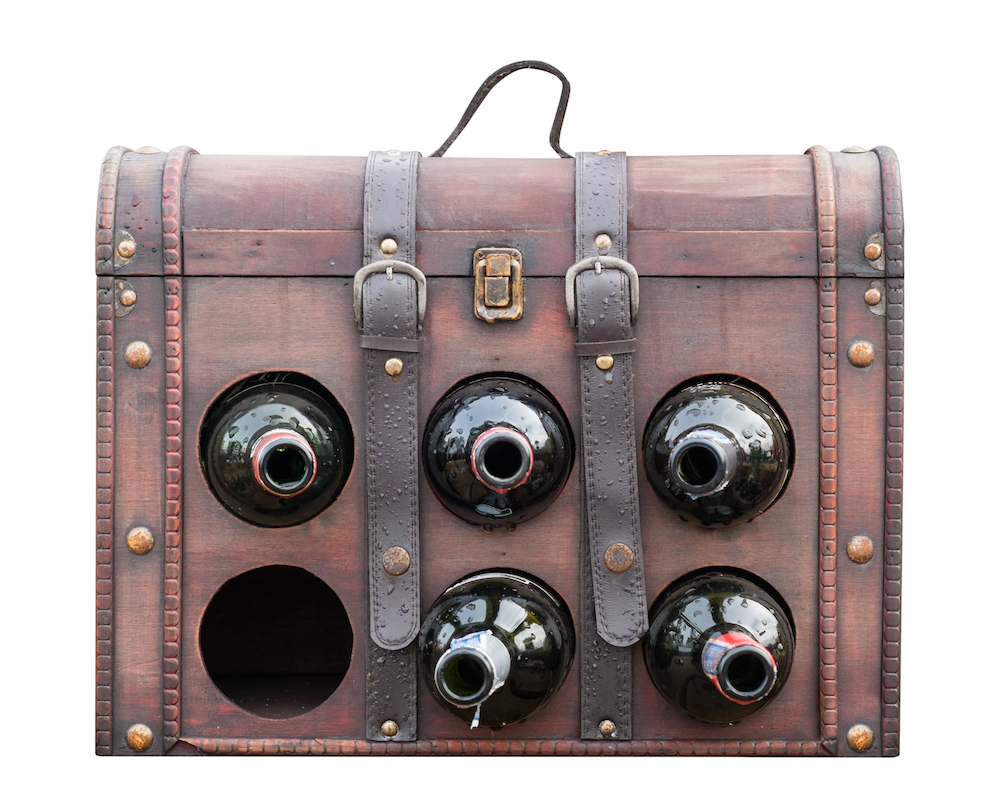Vintage leather wine bag
