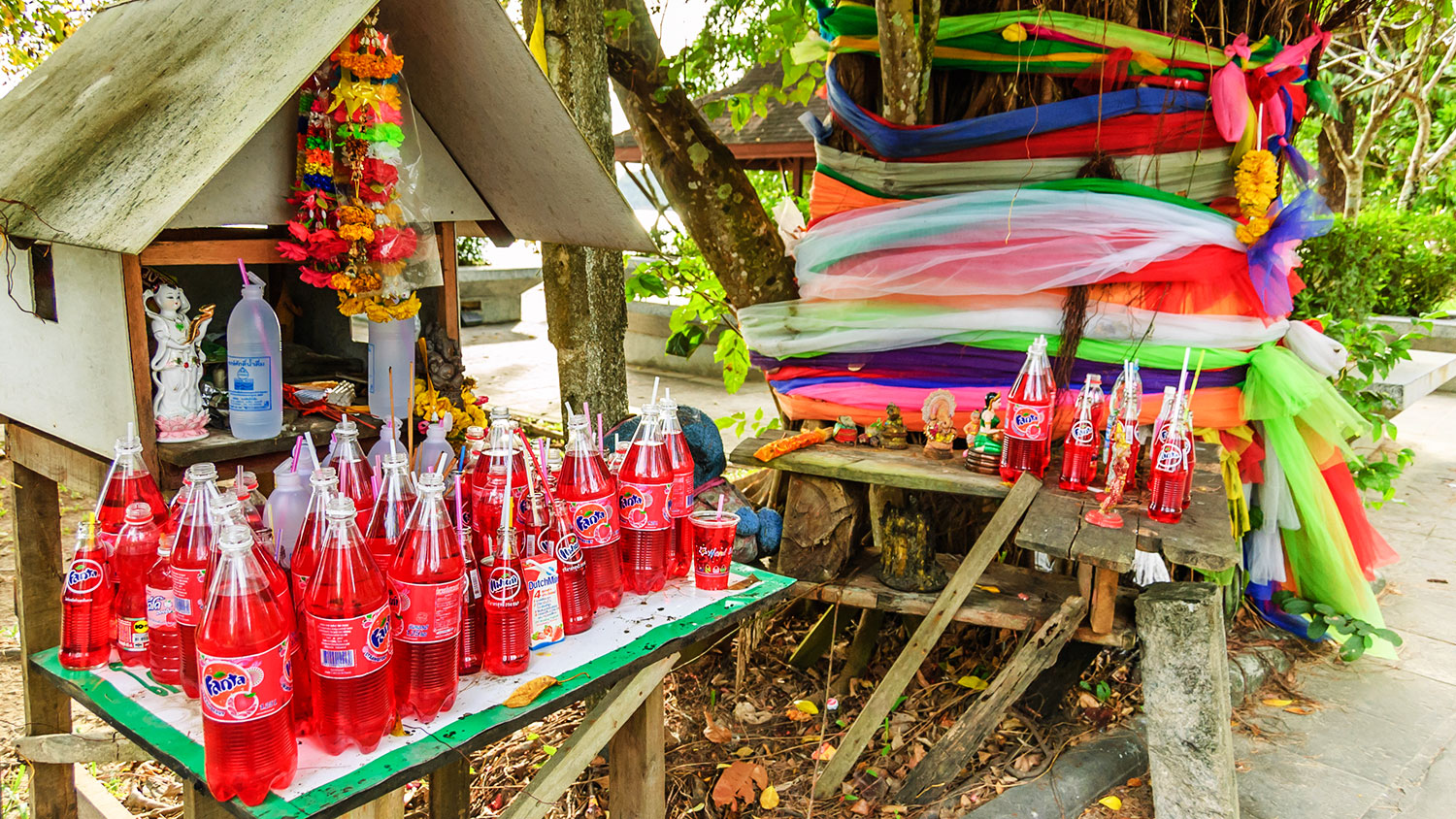 strawberry fanta in Thailand spirit house