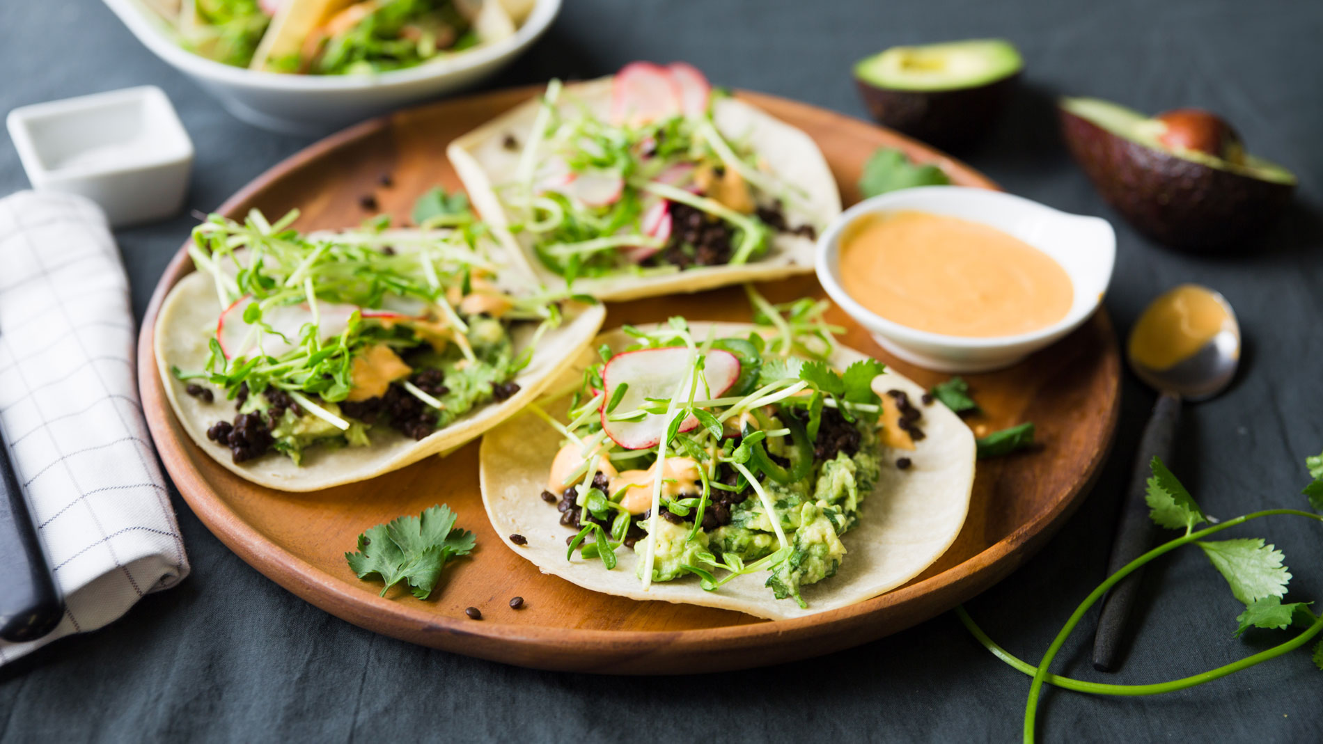Beluga Lentil Tacos with Quick Guacamole & Spring Slaw