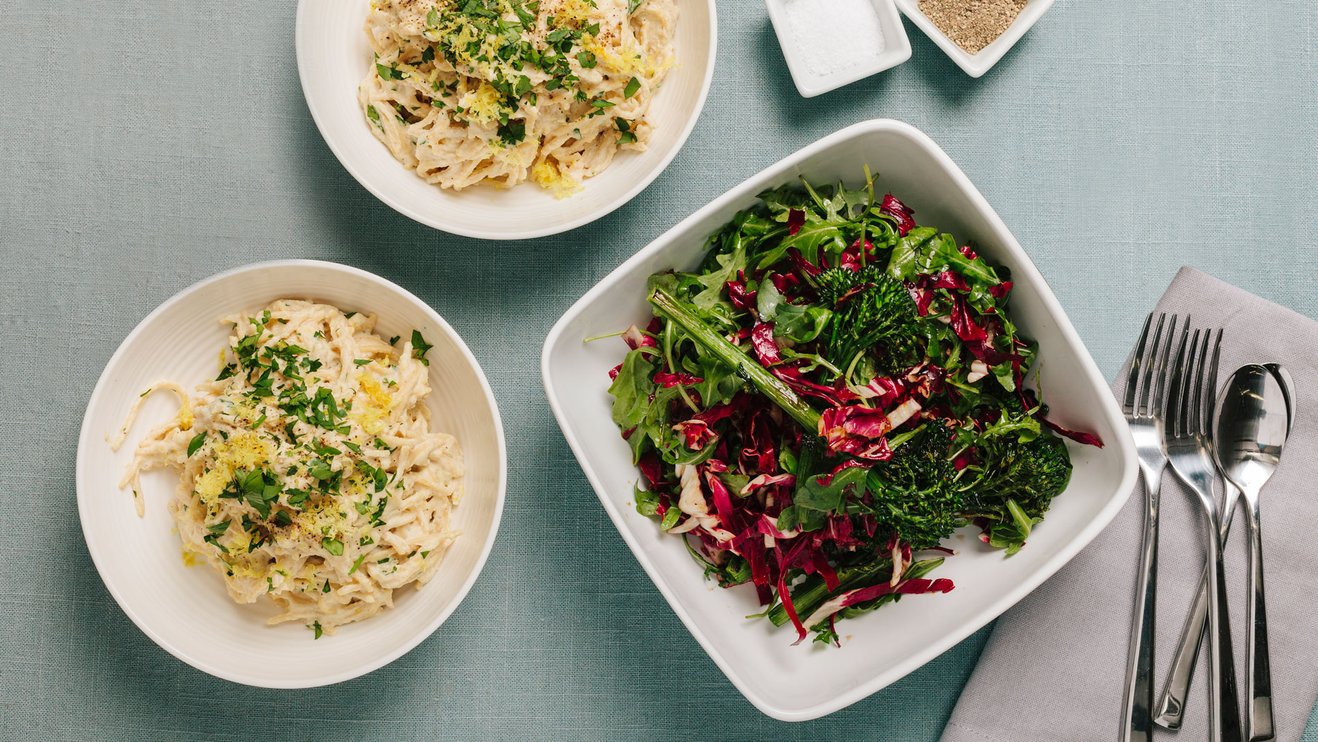 Creamy Cauliflower Alfredo with Warm Broccolini Radicchio Salad