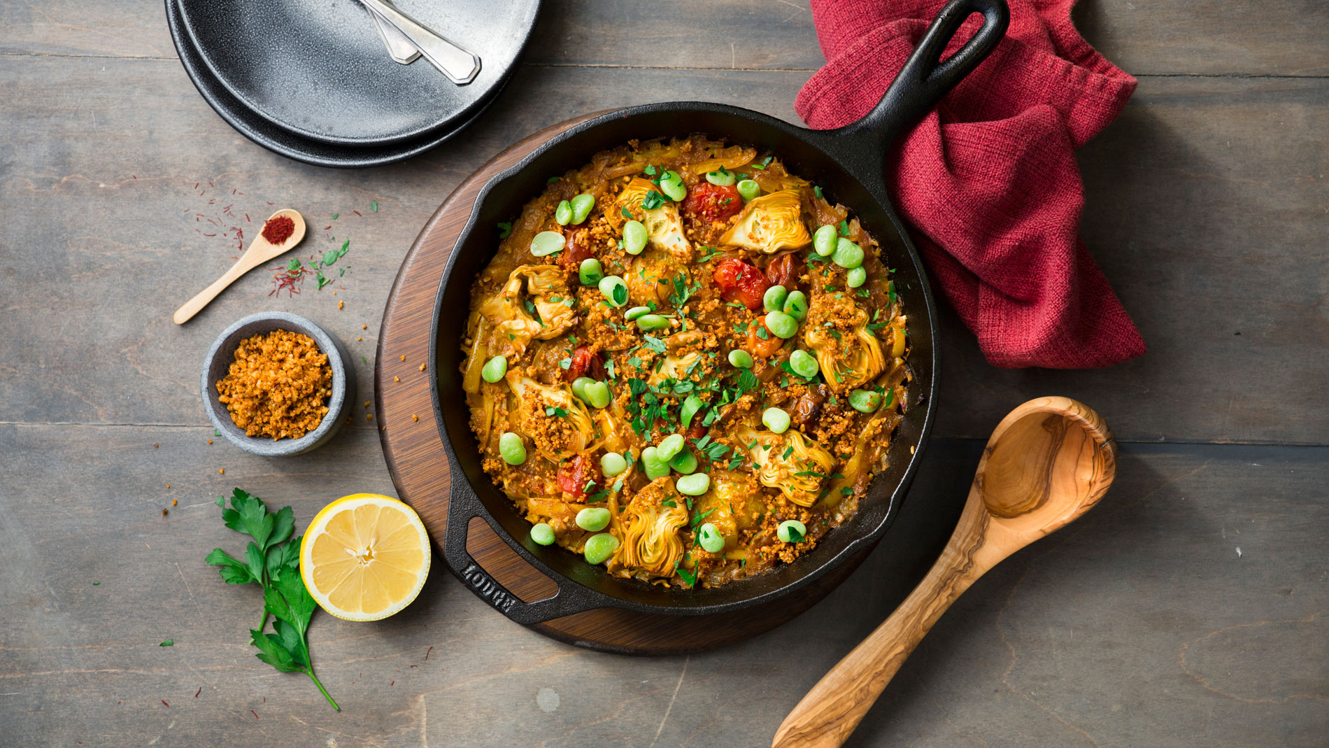Saffron Paella with Walnut Chorizo & Fresh Fava Beans