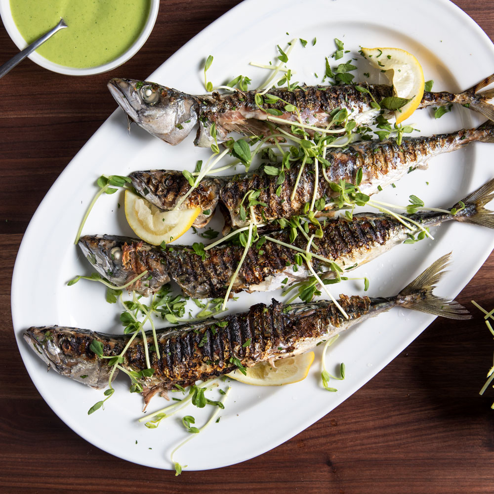 Grilled Herring with Peas, Mint, and Meyer Lemon