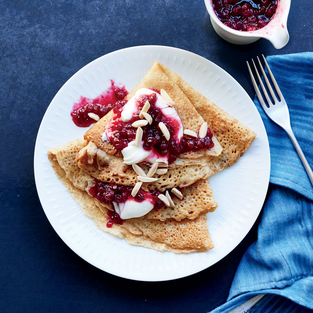 Swedish Pancakes with Lingonberry Compote