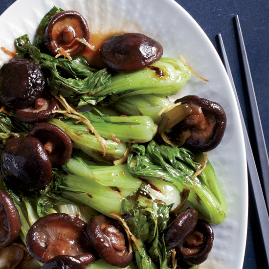 Grilled Bok Choy with Braised Mushrooms by Bryant Ng
