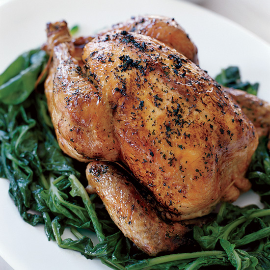 Whole Grilled Chicken with Wilted Arugula