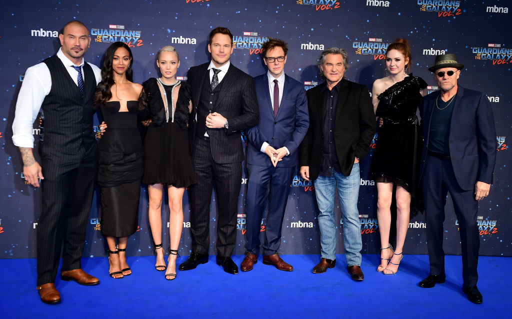 The cast (left to right) Dave Bautista, Zoe Saldana, Pom Klementieff, Chris Pratt, James Gunn, Kurt Russell, Karen Gillan and Michael Rooker