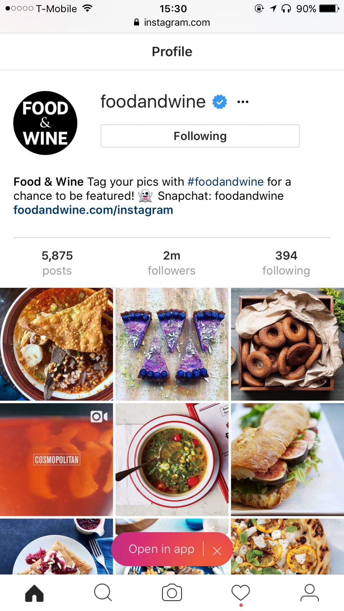 Instagram in a mobile browser window