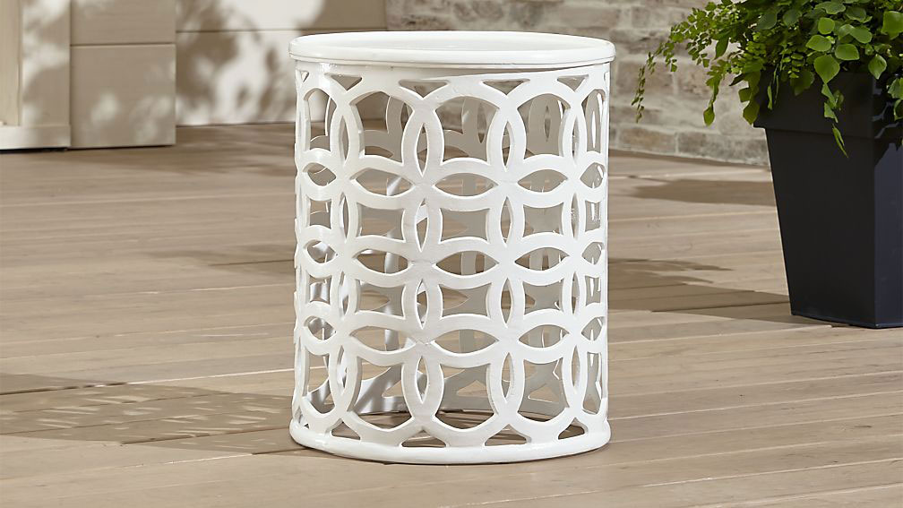 Crate & Barrel Lattice Circle Large Side Table